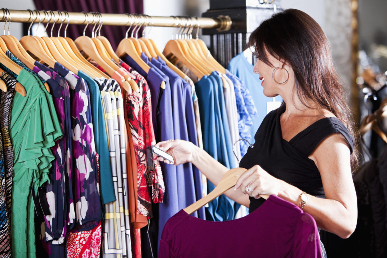 Woman shopping in a clothing store