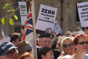 Protesters protesting antisemitism in Britain as part of the Campaign Against Antisemitism action