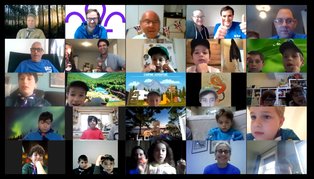 Leeds Jewish Scout Group virtual camp zoom meeting